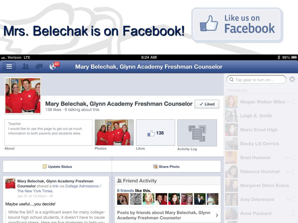Mrs. Belechak is on Facebook!
