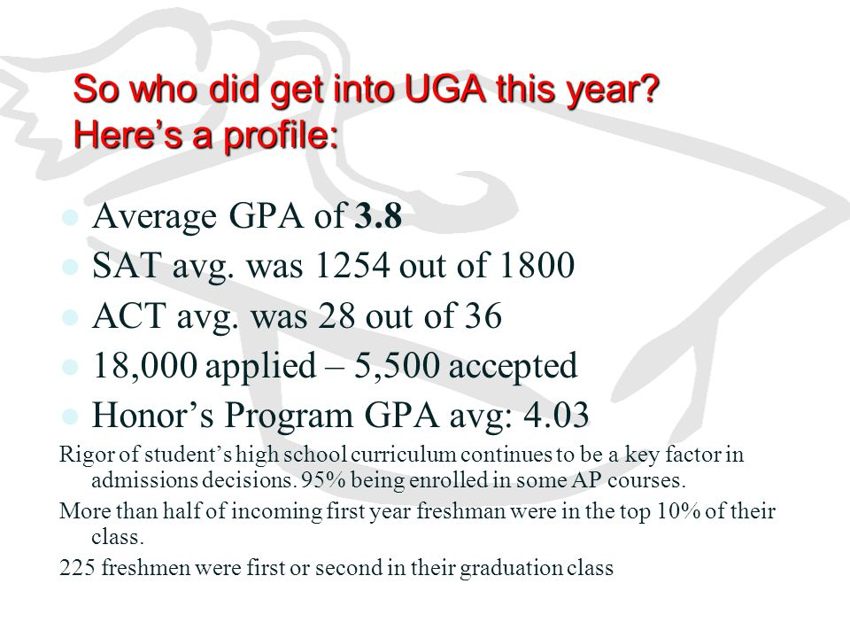 So who did get into UGA this year Here's a profile: