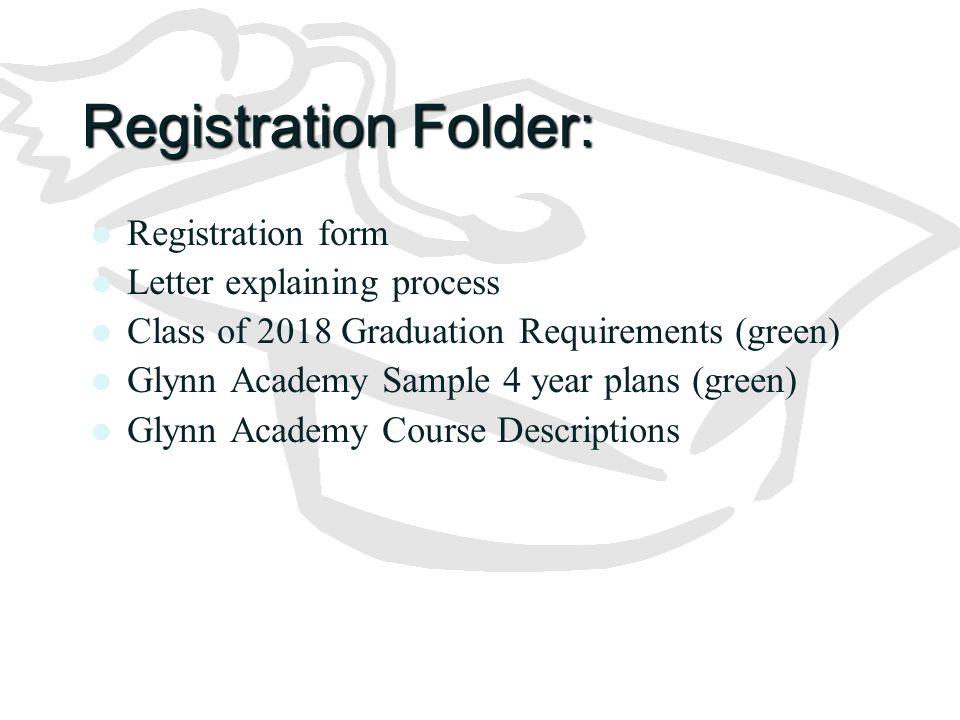 Registration Folder: Registration form Letter explaining process