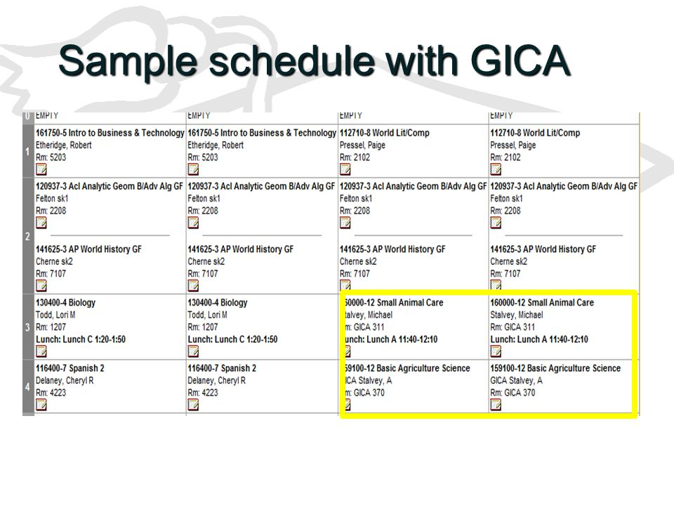 Sample schedule with GICA