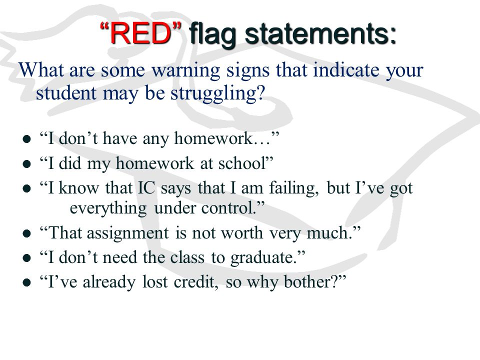 RED flag statements: