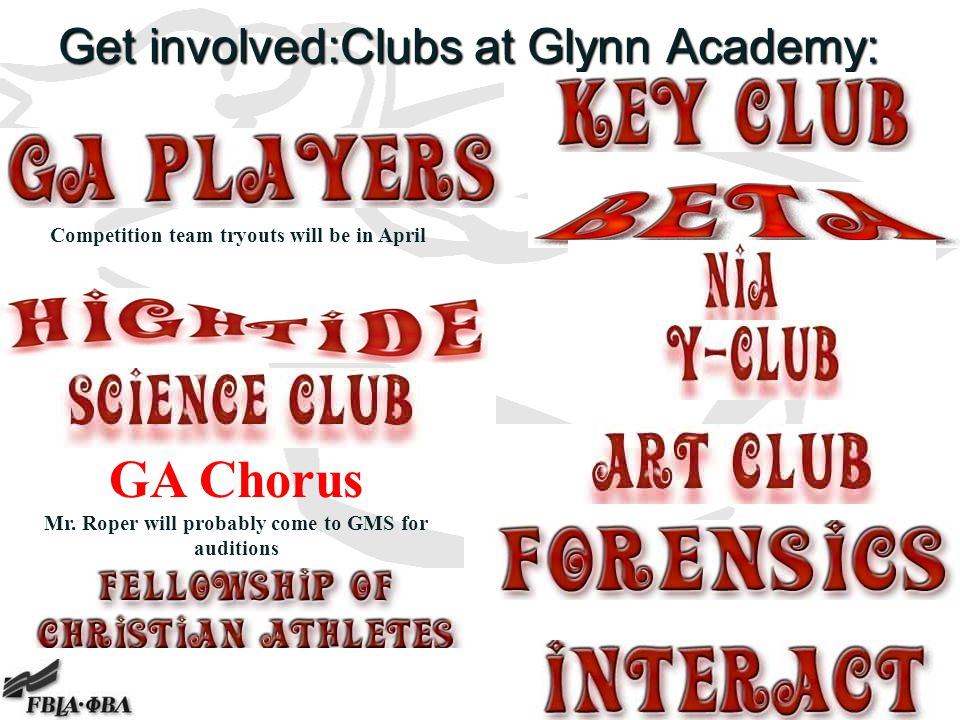 Get involved:Clubs at Glynn Academy: