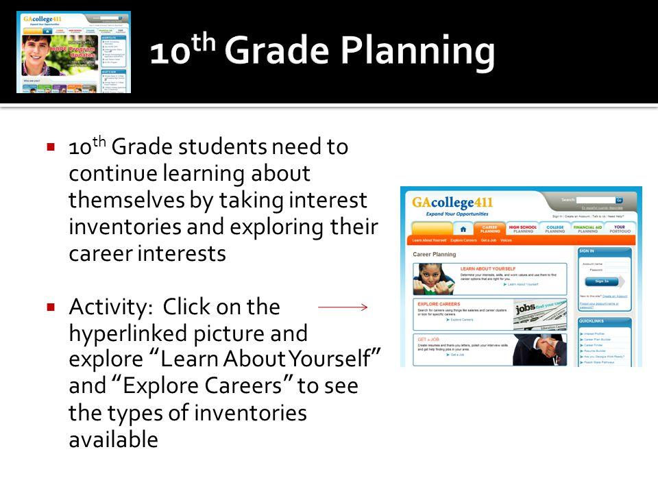 10th Grade Planning