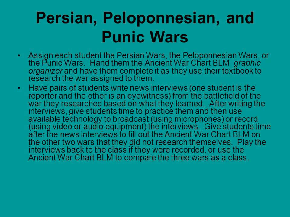 Persian, Peloponnesian, and Punic Wars