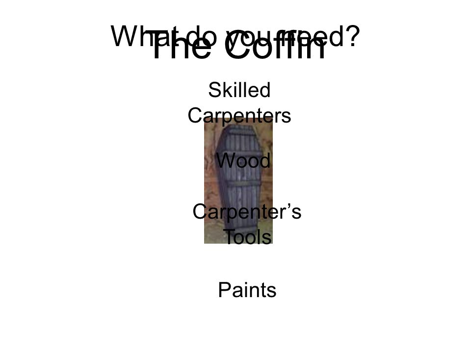 The Coffin What do you need Skilled Carpenters Wood Carpenter's Tools
