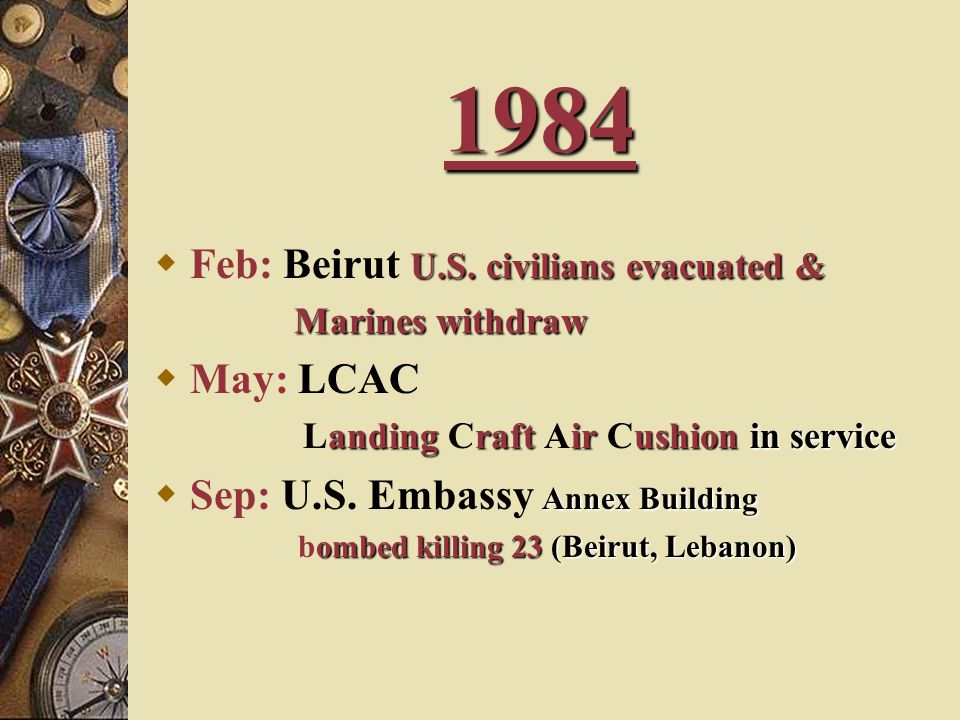 1984 Feb: Beirut U.S. civilians evacuated & May: LCAC