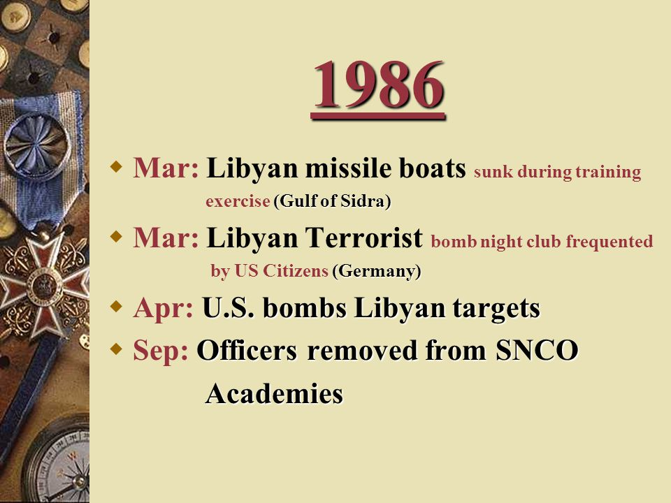 1986 Mar: Libyan missile boats sunk during training