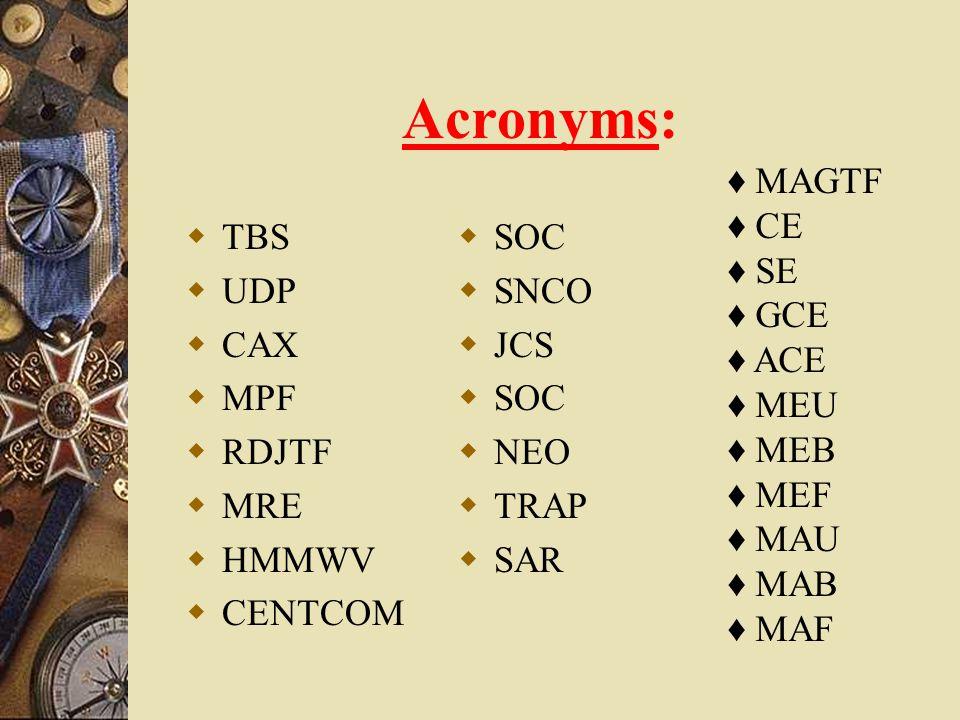 Acronyms: MAGTF CE SE GCE ACE MEU MEB MEF MAU MAB MAF TBS UDP CAX MPF