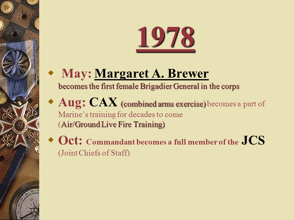 1978 May: Margaret A. Brewer becomes the first female Brigadier General in the corps.