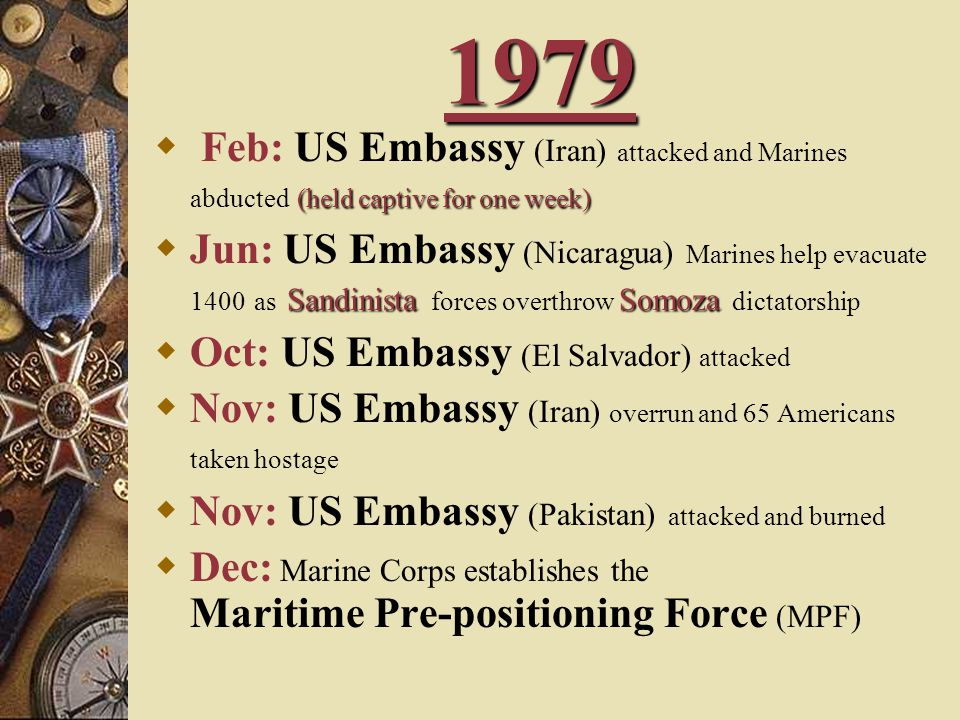 1979 Feb: US Embassy (Iran) attacked and Marines abducted (held captive for one week)