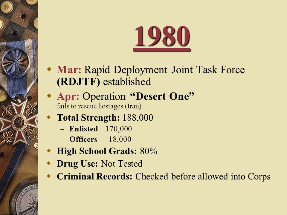 1980 Mar: Rapid Deployment Joint Task Force (RDJTF) established