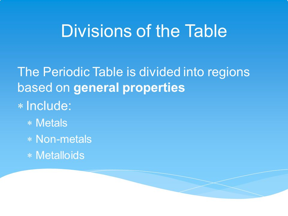Divisions of the Table The Periodic Table is divided into regions based on general properties. Include: