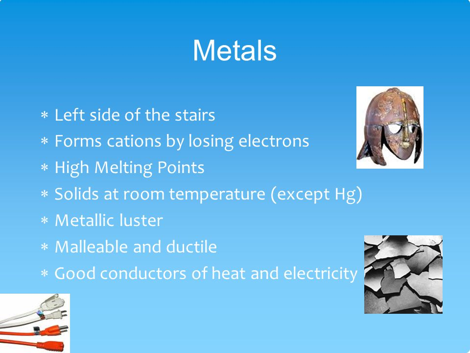 Metals Left side of the stairs Forms cations by losing electrons