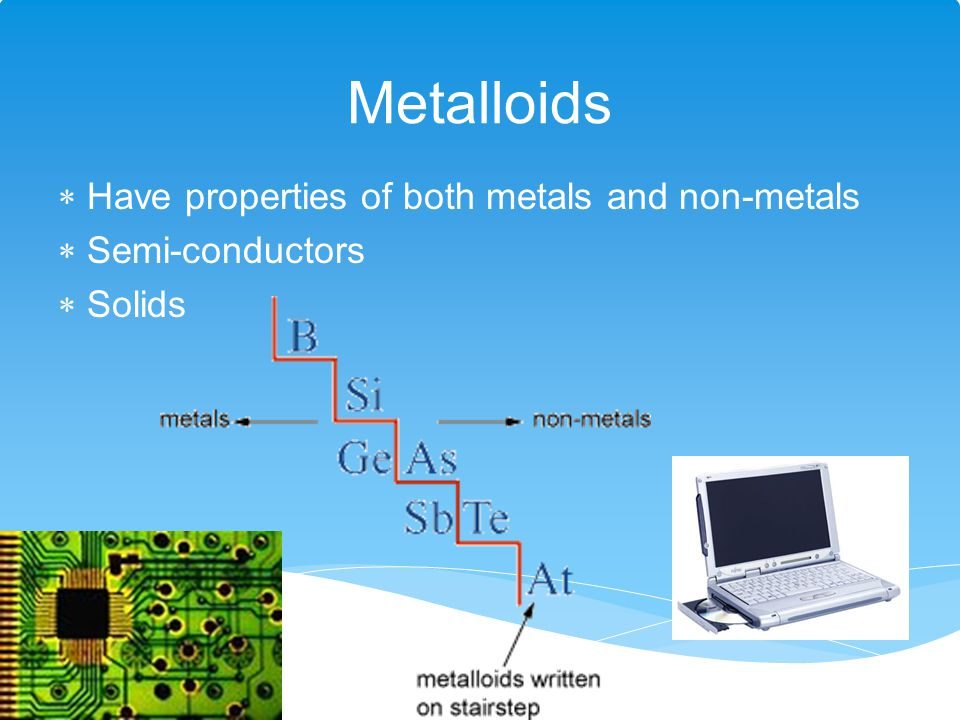 Metalloids Have properties of both metals and non-metals