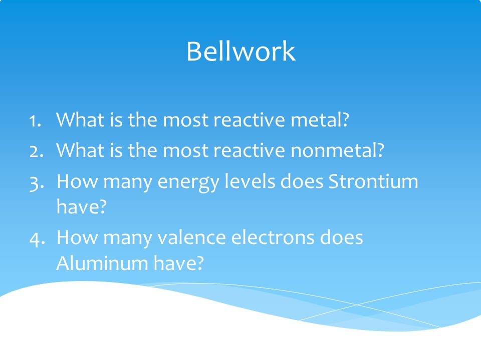 Bellwork What is the most reactive metal