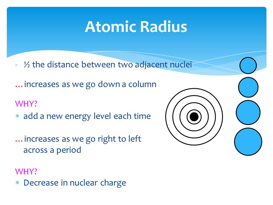 Atomic Radius ½ the distance between two adjacent nuclei