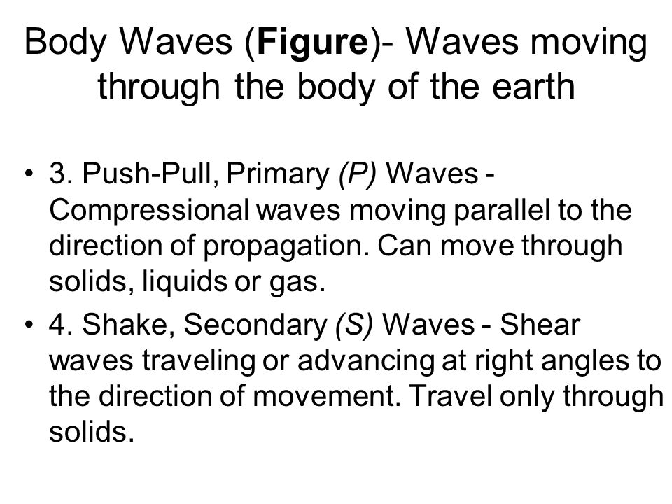 Body Waves (Figure)- Waves moving through the body of the earth