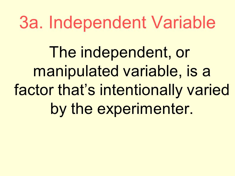 3a. Independent Variable