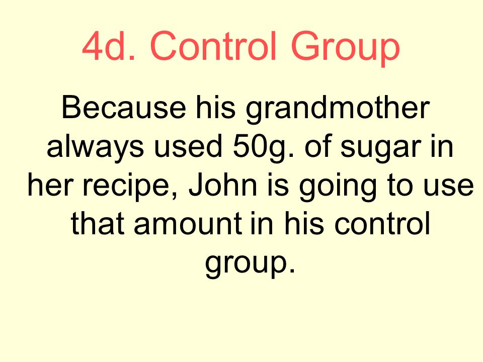 4d. Control Group Because his grandmother always used 50g.