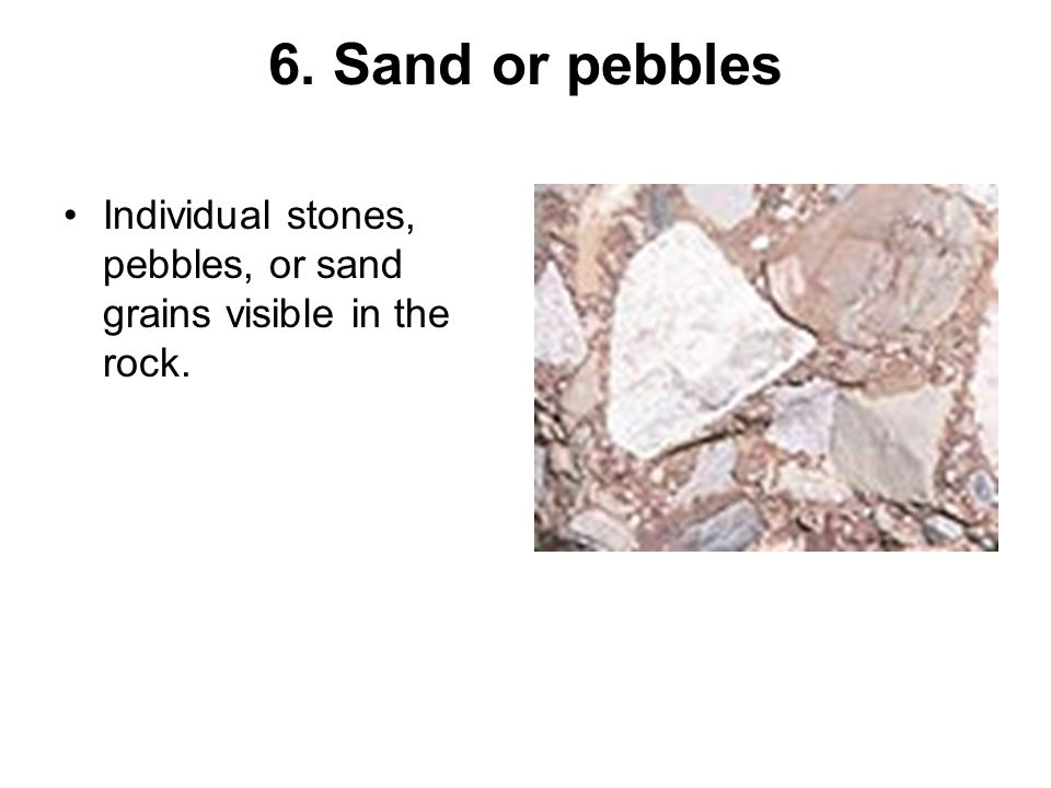6. Sand or pebbles Individual stones, pebbles, or sand grains visible in the rock.