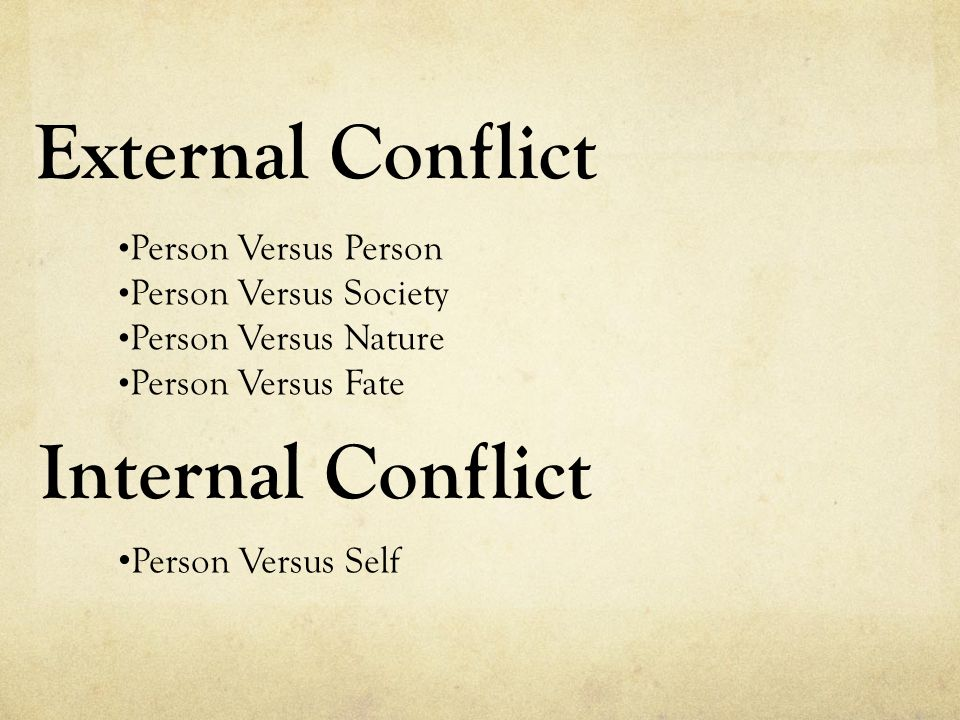 External Conflict Internal Conflict Person Versus Person
