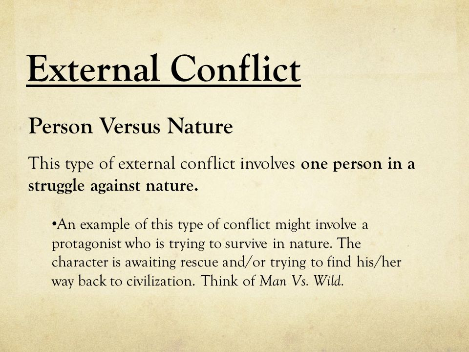 External Conflict Person Versus Nature