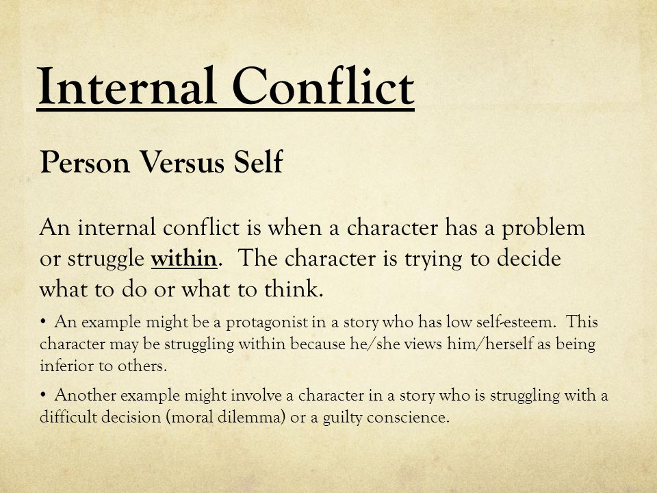 Internal Conflict Person Versus Self