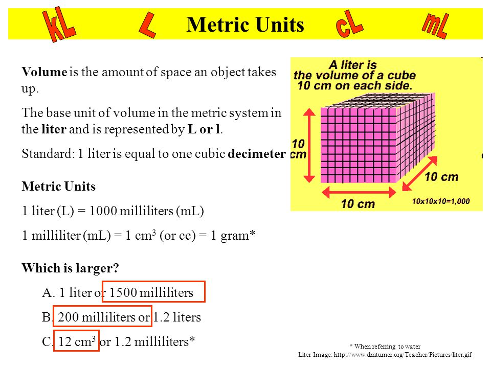Metric Units kL. cL. mL. L. Volume is the amount of space an object takes up.