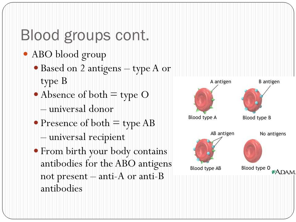 Blood groups cont. ABO blood group