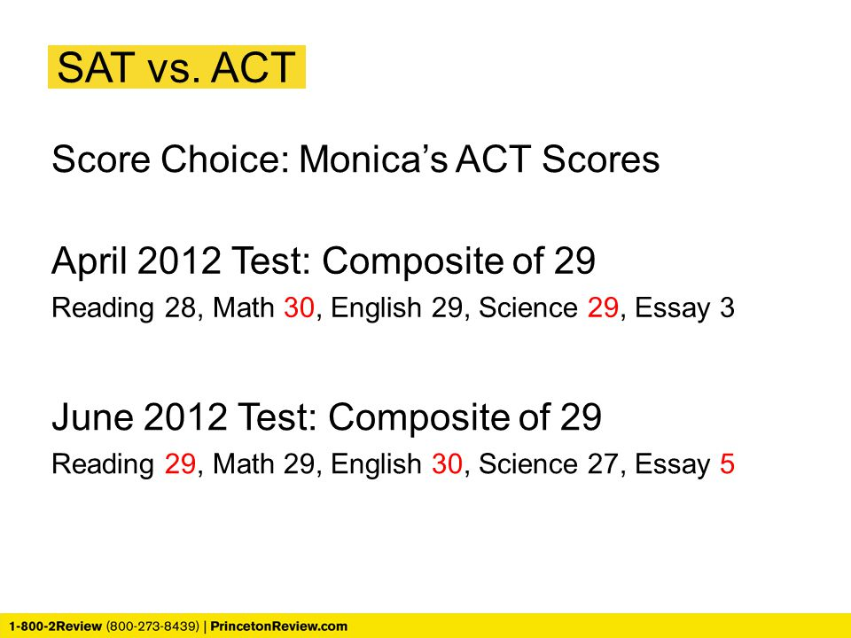 SAT vs. ACT Score Choice: Monica's ACT Scores