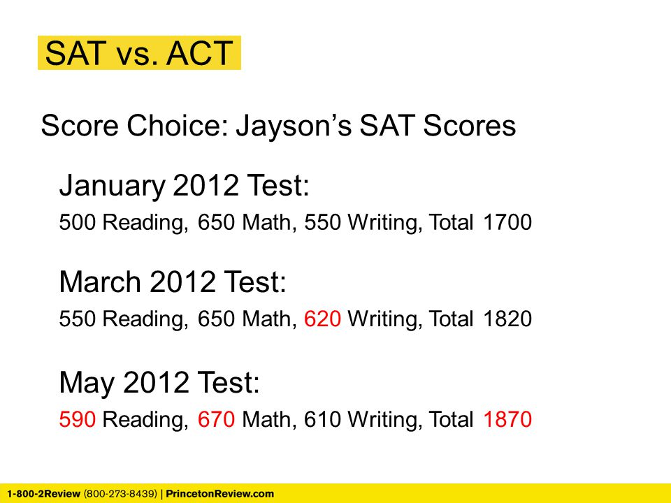 SAT vs. ACT Score Choice: Jayson's SAT Scores January 2012 Test:
