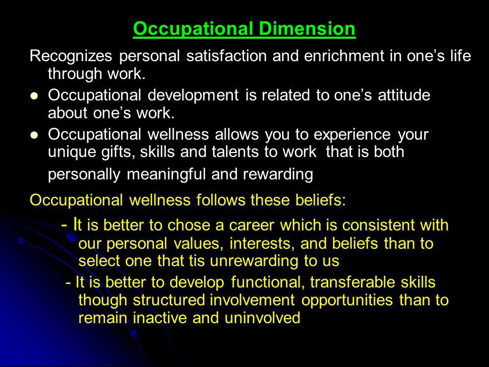 Occupational Dimension
