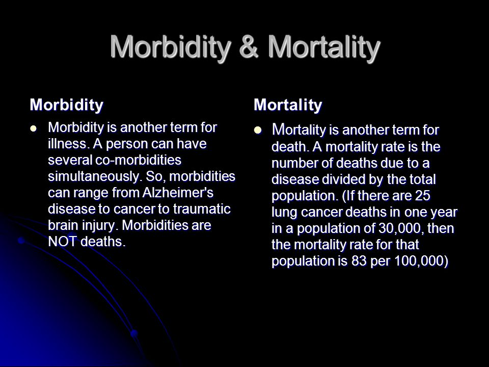 health morbidity mortality Severe maternal morbidity in new york city, 2008–2012 conversation on maternal health has focused on maternal mortality, although it represents a small.