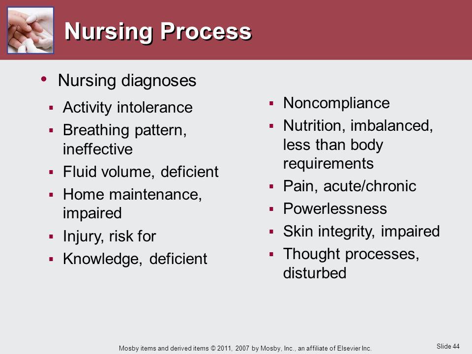 Nursing Process Nursing diagnoses Activity intolerance Noncompliance