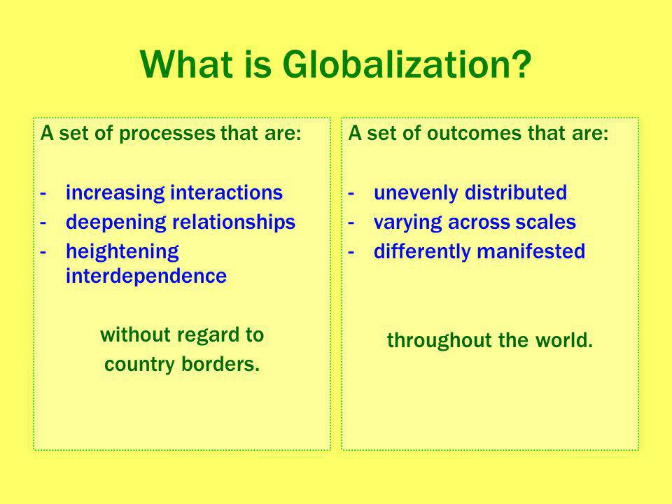 What is Globalization A set of processes that are: