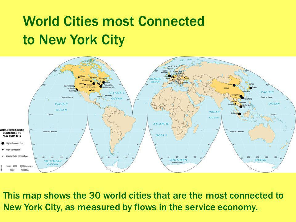 World Cities most Connected to New York City