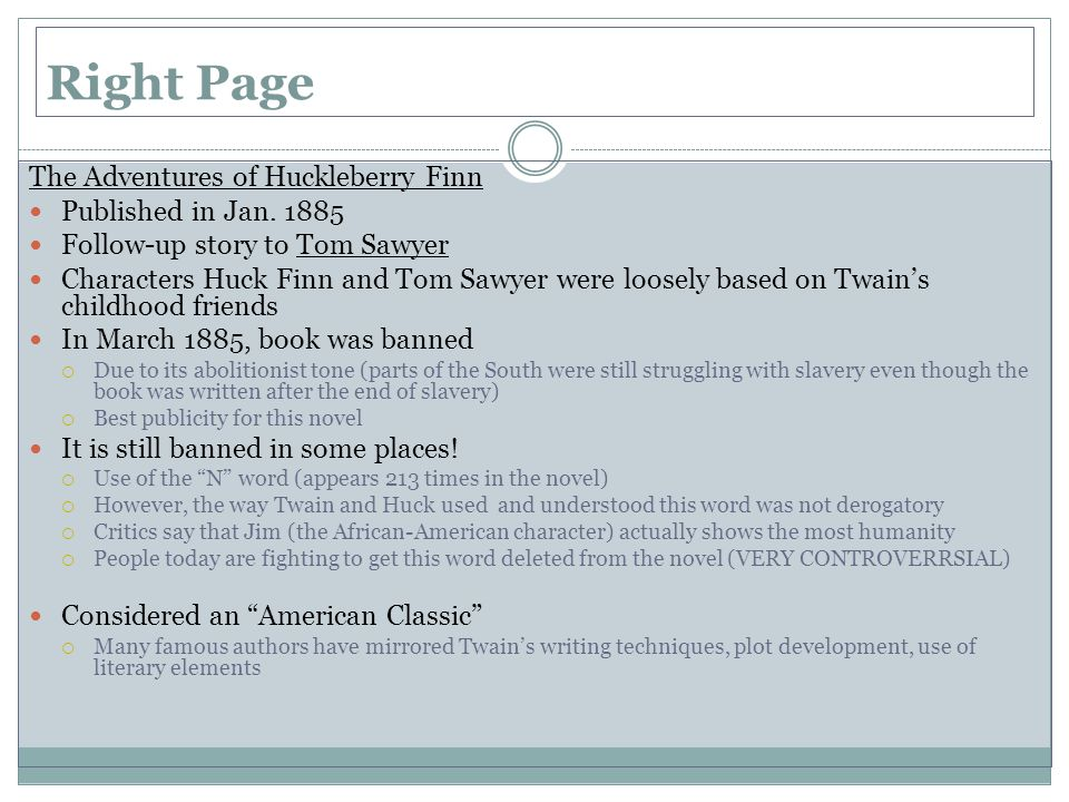 Right Page The Adventures of Huckleberry Finn Published in Jan. 1885