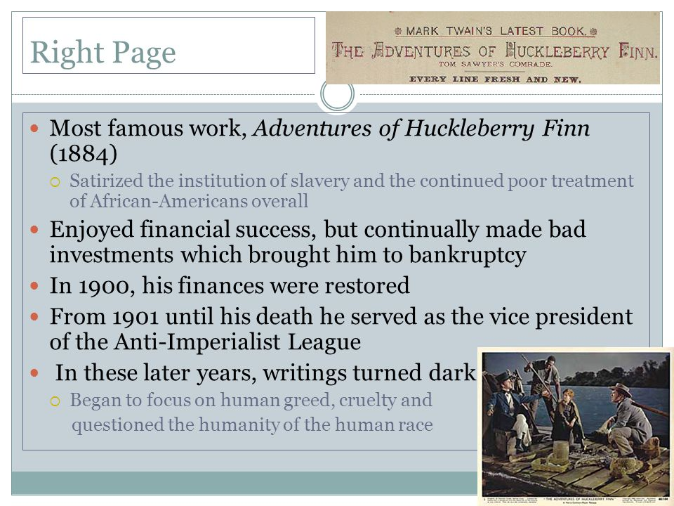 Right Page Most famous work, Adventures of Huckleberry Finn (1884)