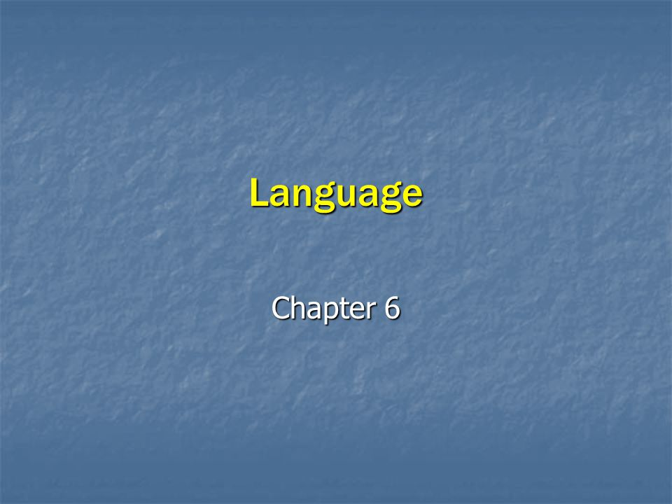 Language Chapter 6