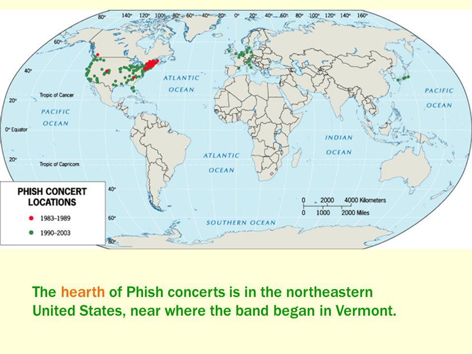 The hearth of Phish concerts is in the northeastern United States, near where the band began in Vermont.