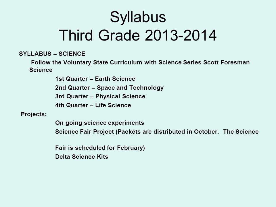 Syllabus Third Grade 2013-2014 SYLLABUS – SCIENCE