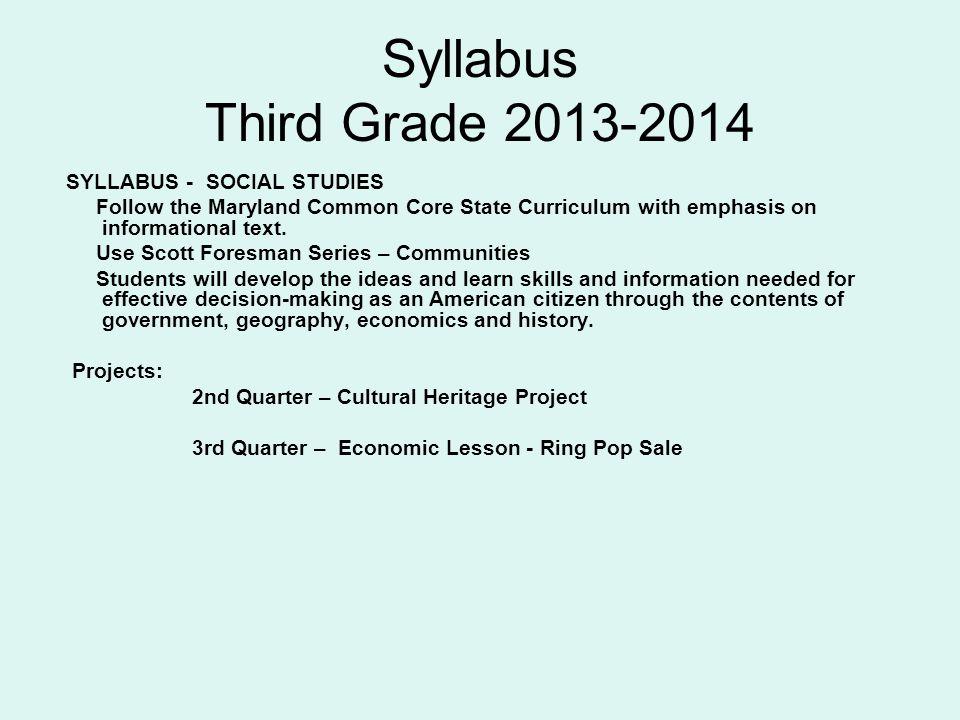 Syllabus Third Grade 2013-2014 SYLLABUS - SOCIAL STUDIES