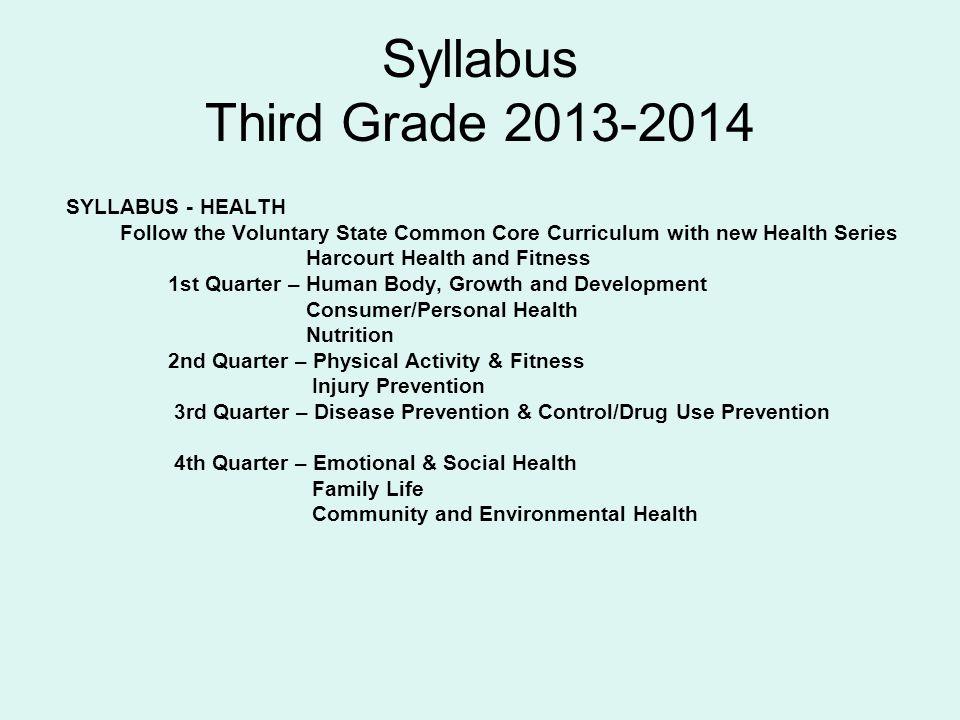 Syllabus Third Grade 2013-2014 SYLLABUS - HEALTH