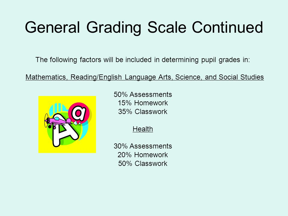 General Grading Scale Continued