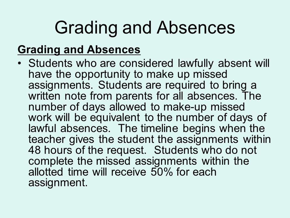 Grading and Absences Grading and Absences