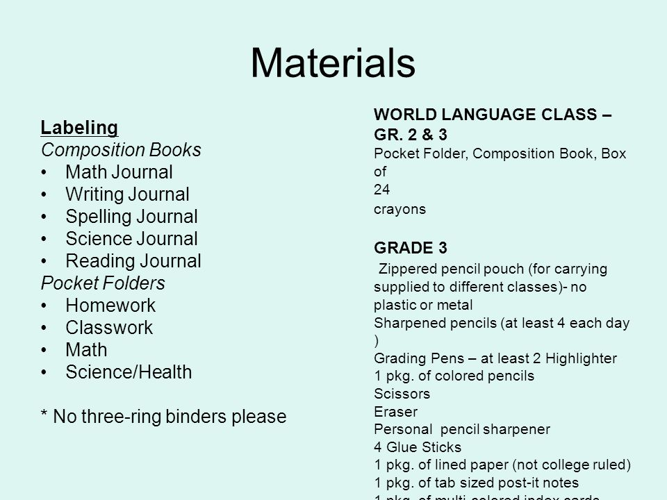 Materials Labeling Composition Books Math Journal Writing Journal