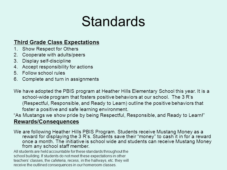 Standards Third Grade Class Expectations Rewards/Consequences
