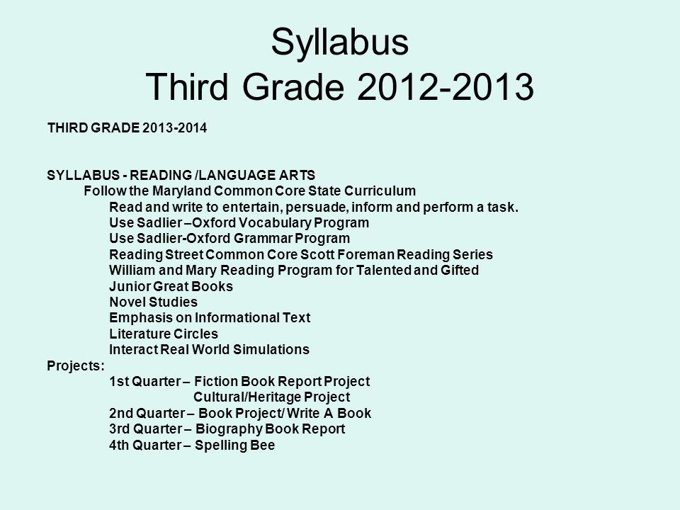 Syllabus Third Grade 2012-2013 THIRD GRADE 2013-2014