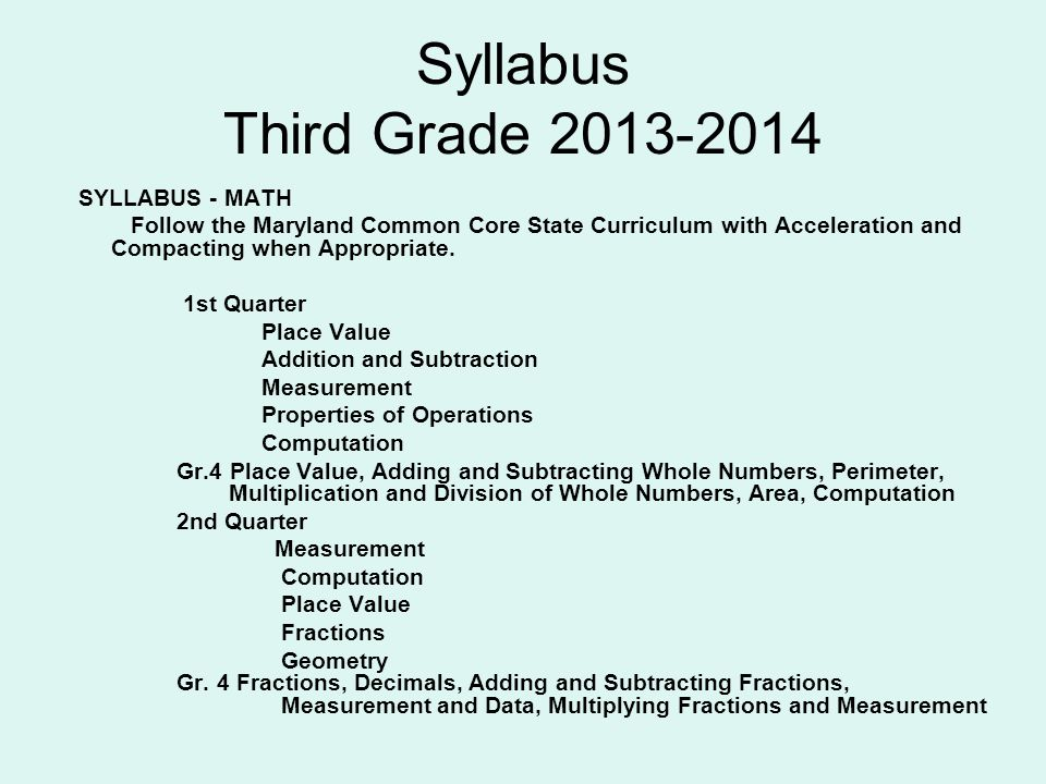 Syllabus Third Grade 2013-2014 SYLLABUS - MATH