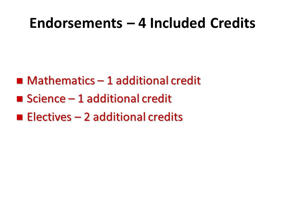 Endorsements – 4 Included Credits